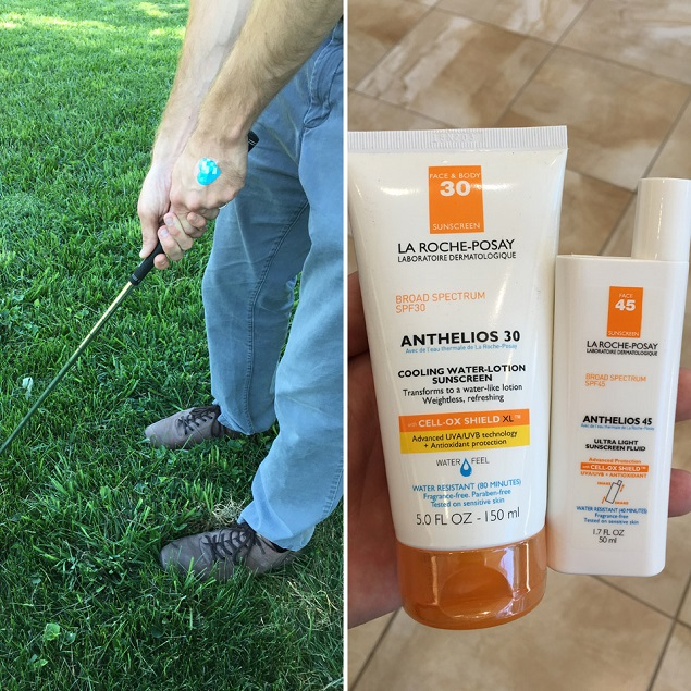 Clark hits the links with La Roche-Posay My UV Patch and Anthelios sunscreen.